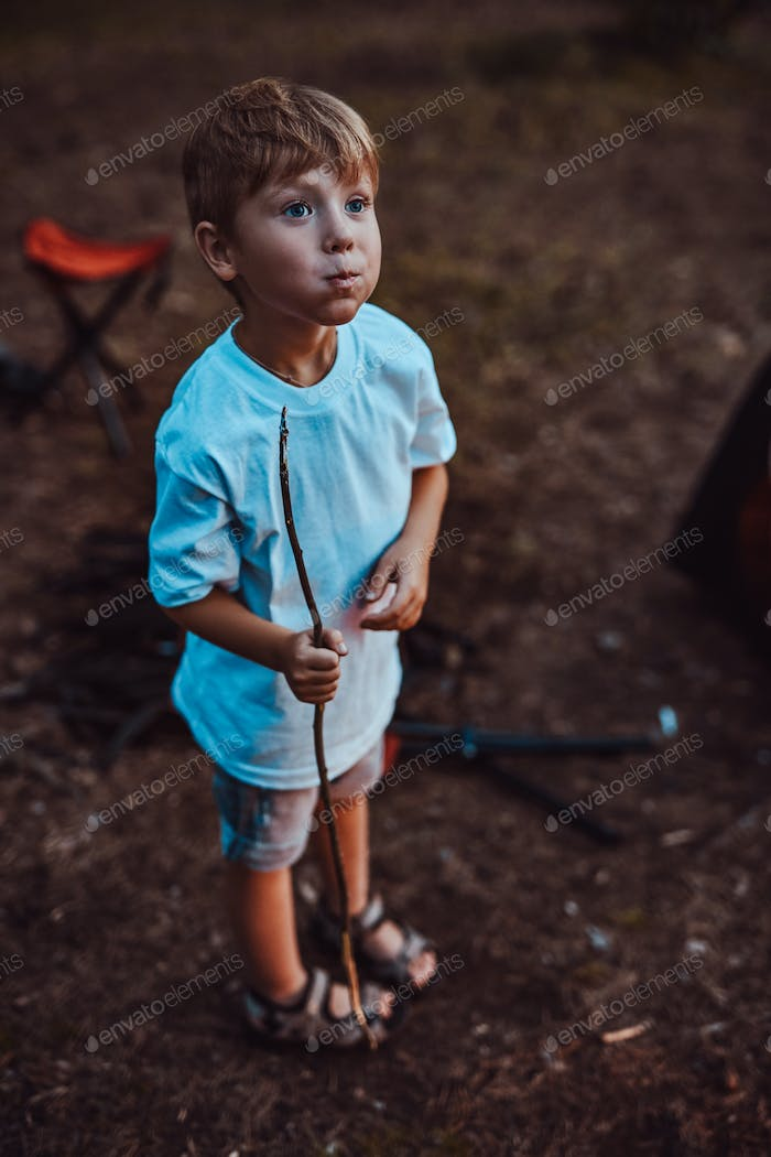 Happy schoolboy eating marshmallow in summer forest