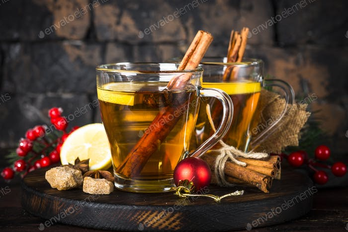 Christmas drink with lemon and spices