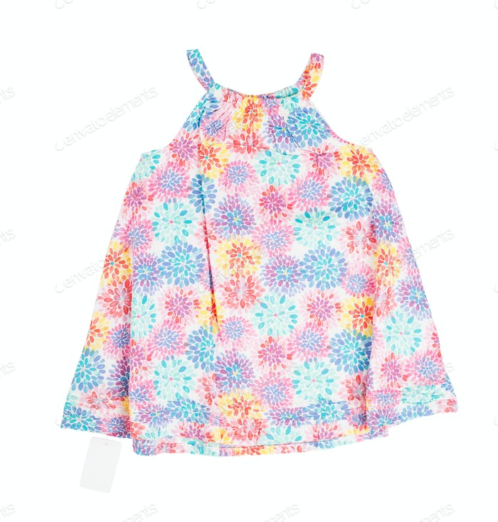 Child dress with floral pattern.