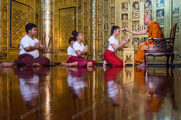 Teacher ceremony traditional of thailand buddha to pay homage to sacred ceremonies