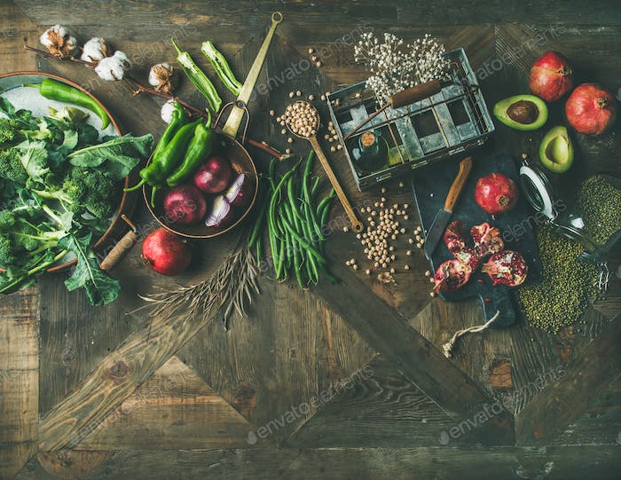 Flat-lay of winter vegetarian or vegan food cooking ingredients