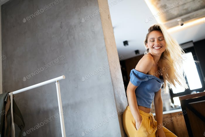 Happy beautiful young woman feels happy enjoy life concept