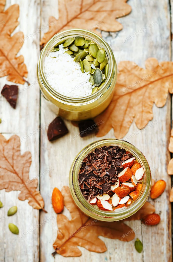 pumpkin chia seeds overnight oats