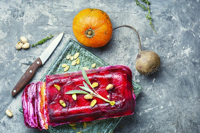 Pumpkin and beetroot terrine