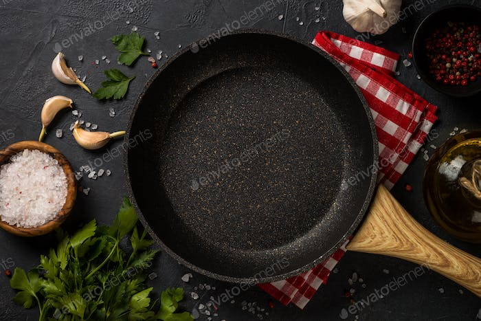 Food cooking background on black table