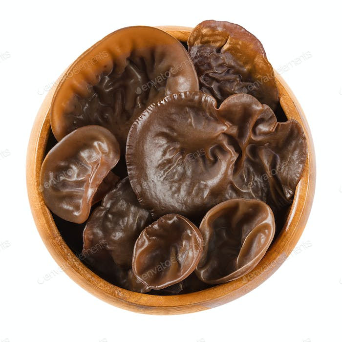 Fresh black fungus, wood ear, in wooden bowl