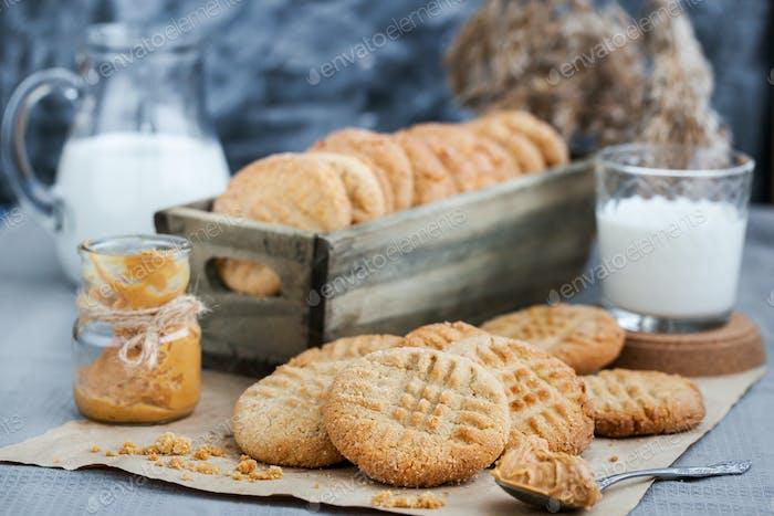 Hausgemachte Erdnussbutter Kekse