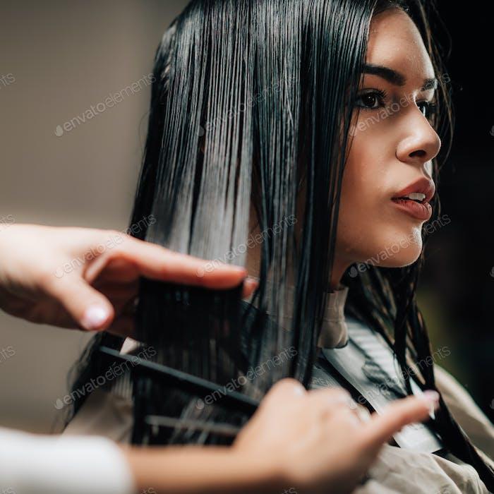 Hair Cutting in Hairdresser Salon