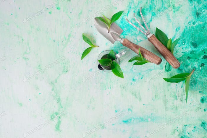 Gardening tools with green leaves on a watercolor background with copy space