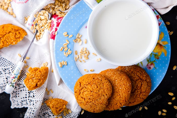 Oatmeal cookies with milk.Dessert, concept of healthy food.