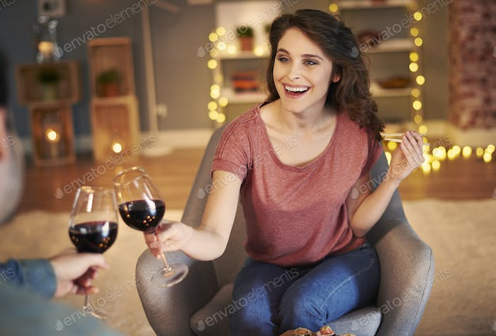 Couple celebrating special event together