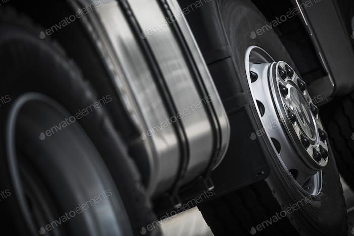 Semi Truck Wheels Closeup
