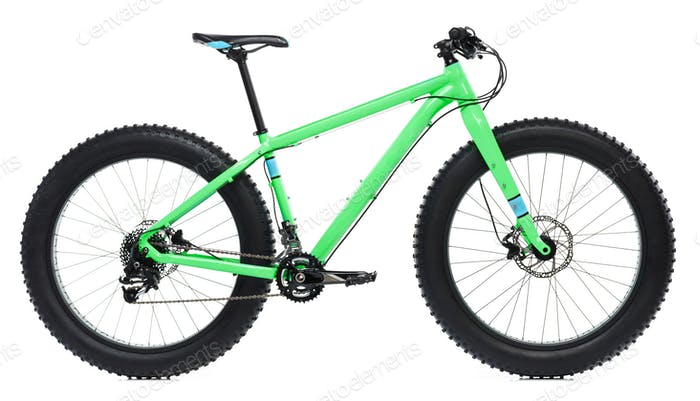 New blue bicycle with thick tires for snow ride isolated on a wh