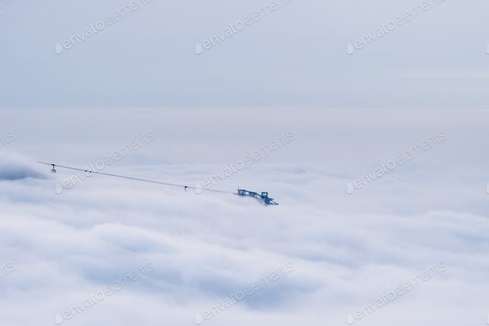 cableway in the sea of clouds