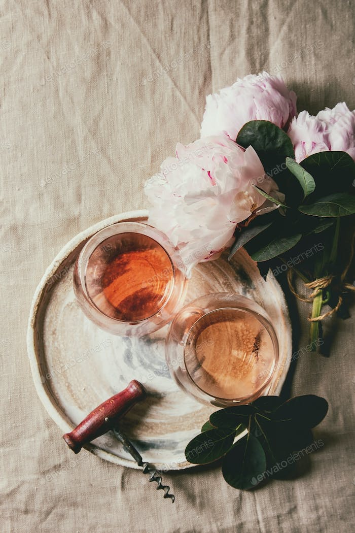 Rose wine with flowers