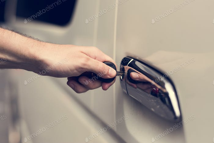 Unlocking a car door with a key