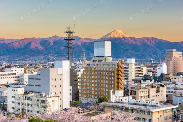 Kofu, Japan city skyline with Mt. Fuji