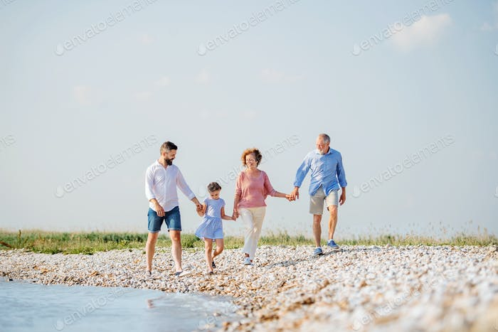 Multigeneration family on a holiday walking by the lake, holding hands
