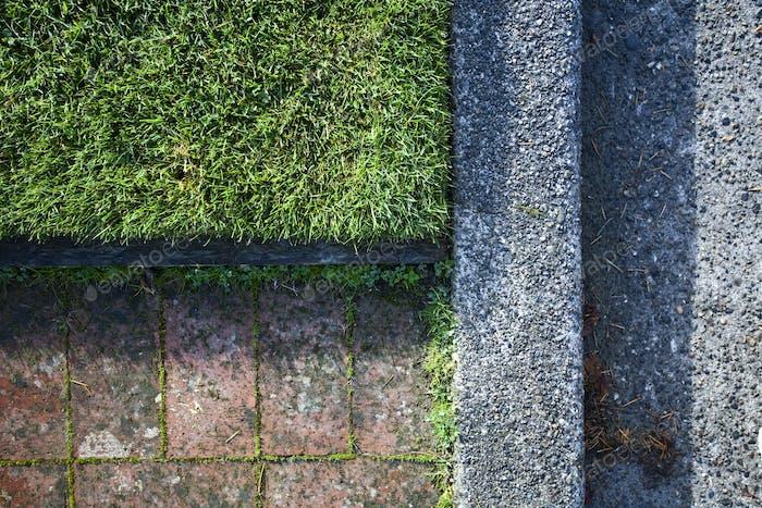 Sidewalk, Street Curb and Grass