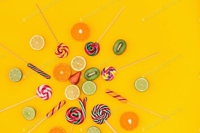 Die bunten Süßigkeiten Hintergrund