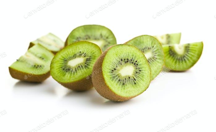 Sliced kiwi fruit.