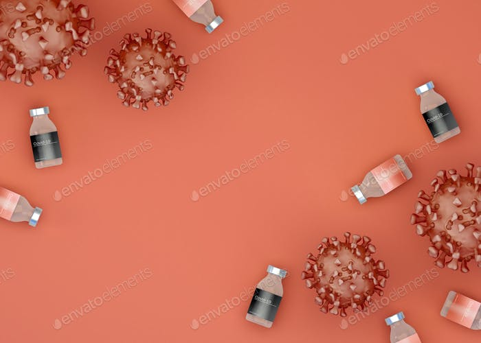 3D Illustration. Covid-19 virus cell with vaccines.