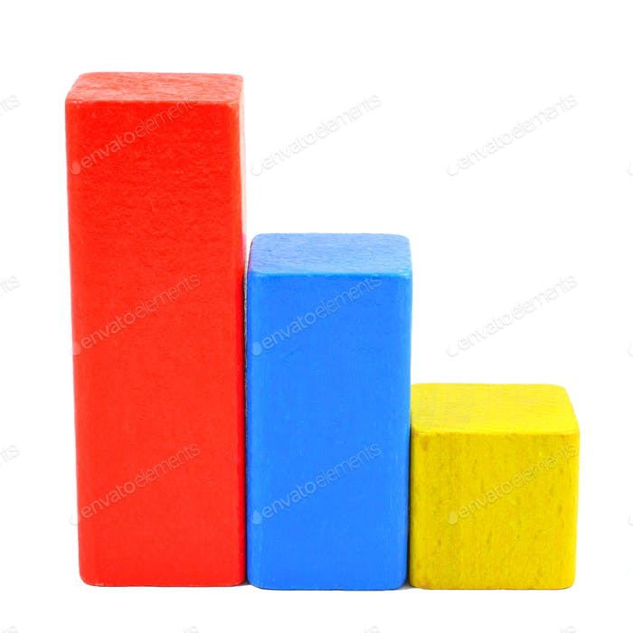 Stairs of multicolored wooden toy blocks isolated on white background