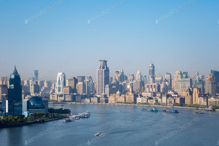 beautiful huangpu river in morning and the bund