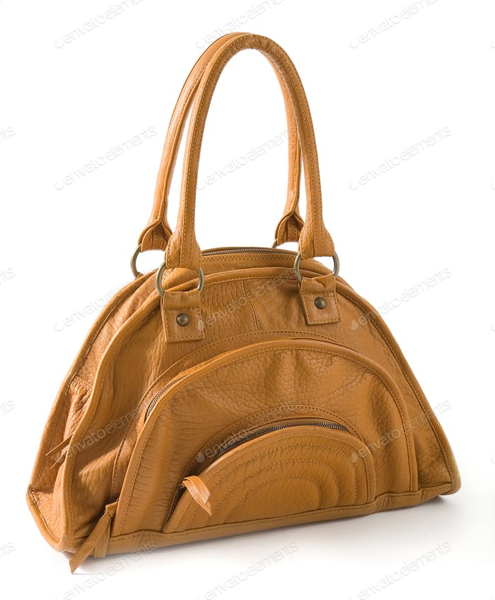 Angry brown leather handbag