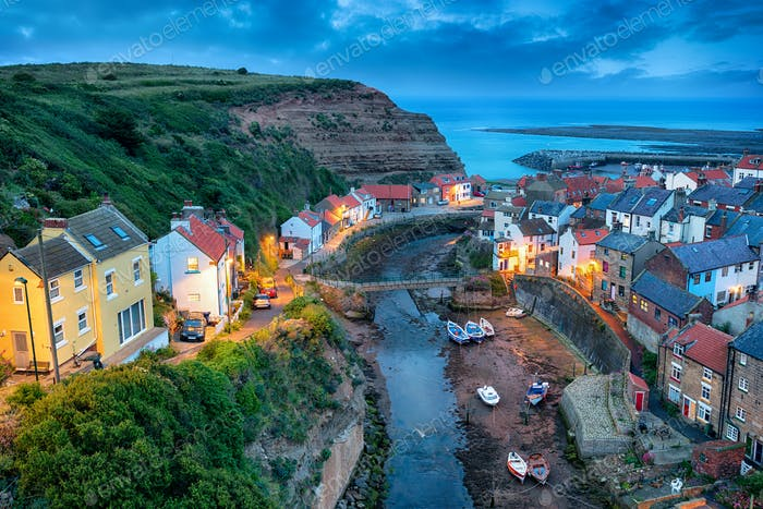Nightfall over Staithes