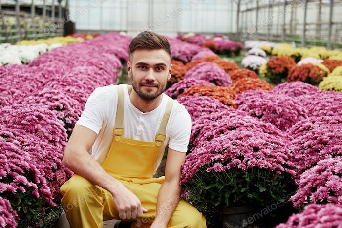 Foto eines schönen jungen Mannes im Gewächshaus, der sich um rosa farbige Blumen kümmert