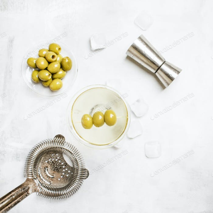 Classic alcoholic cocktail with dry vermouth