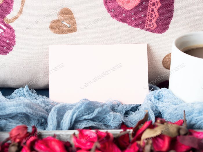Blank paper note for Valentine's day and coffee mug
