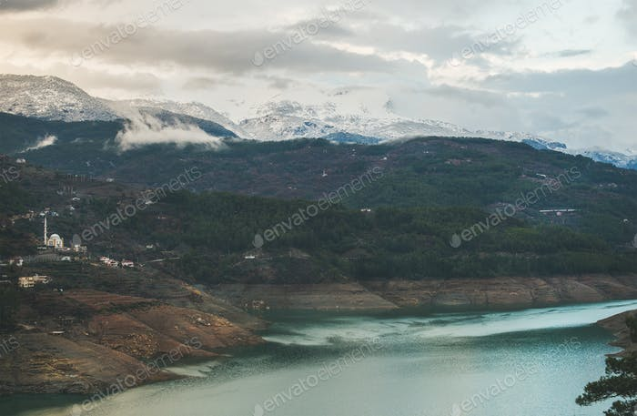 Dim Cay storage pond in the mountain area of Alanya
