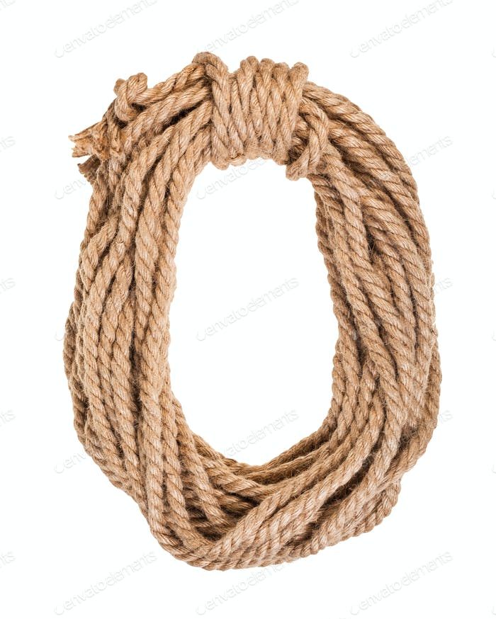 bight of thick natural jute rope isolated