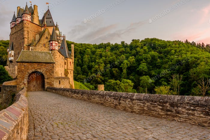 Burg Eltz castle in Rhineland-Palatinate at sunset