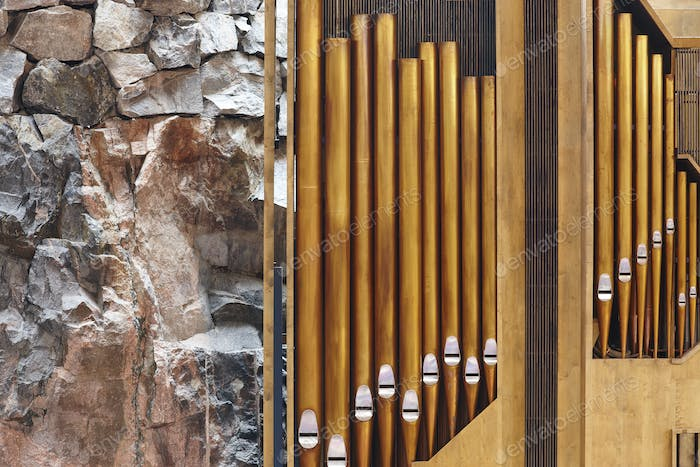 Organ pipe detail on Helsinki rock church. Temppeliaukio. Finland