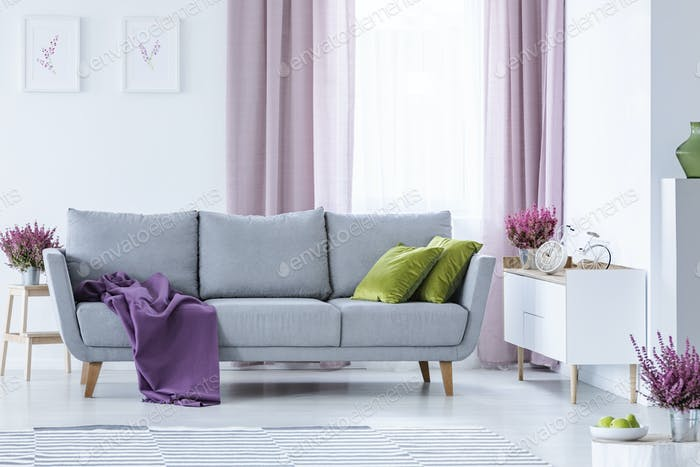 Elegant living room with big comfortable grey couch with olive g