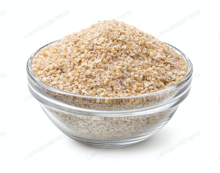 Glass bowl of barley grits