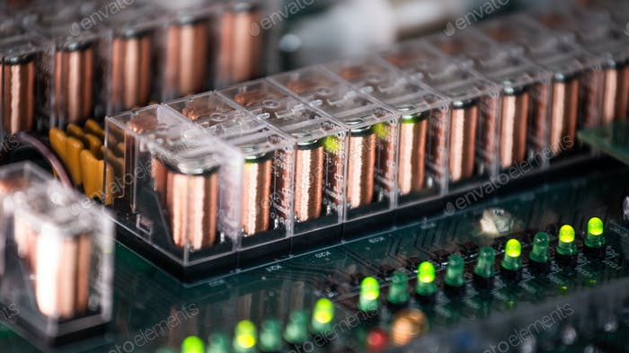 Close-up of a large green microcircuit