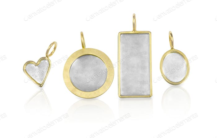 Golden Silver blank customizable trinket pendants