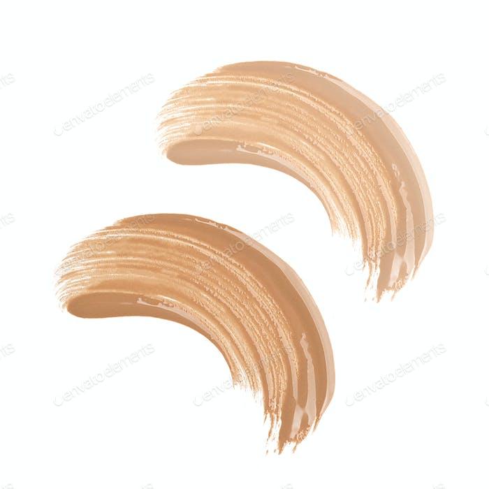 Foundation smudges range of colors