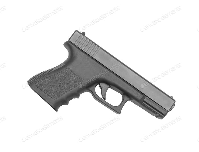 automatic hand gun on white background