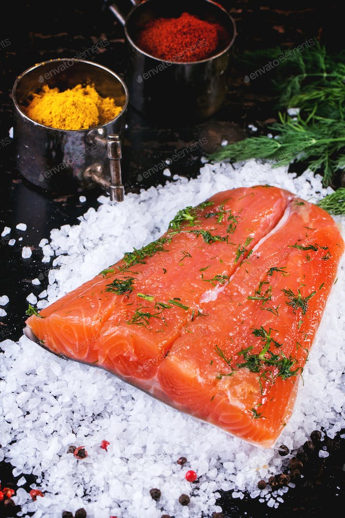 Salted salmon with spices