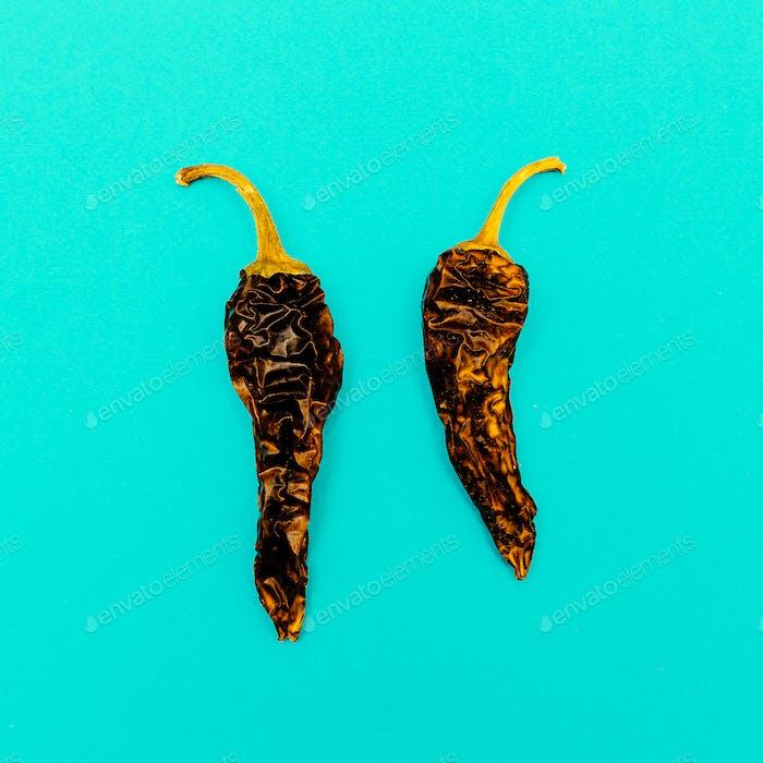 Dried pepper.Minimal art design