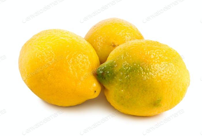 Три лимоны, изолированные на белом