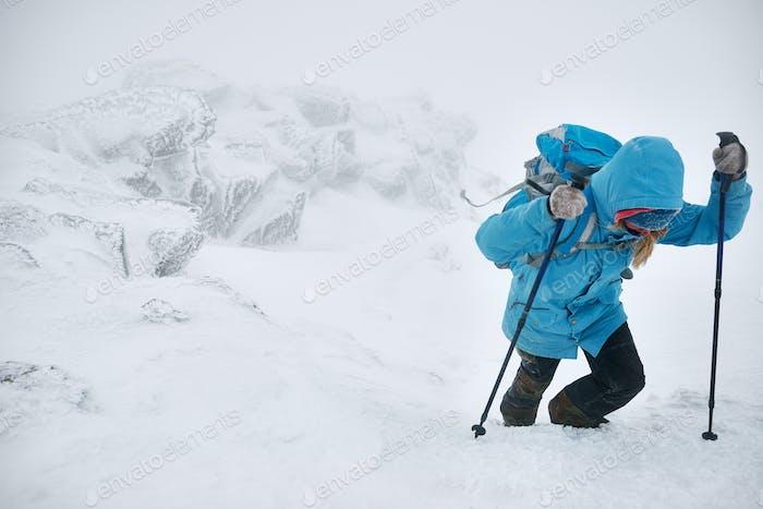 Courageous hiker
