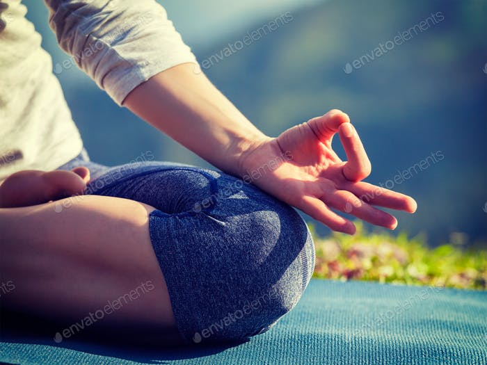 Close up Padmasana lotus pose