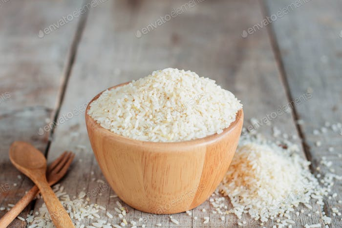 Rice on wooden table