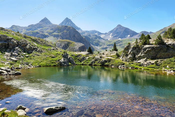 Ranas Lake in Tena Valley in The Pyrenees, Huesca, Spain.